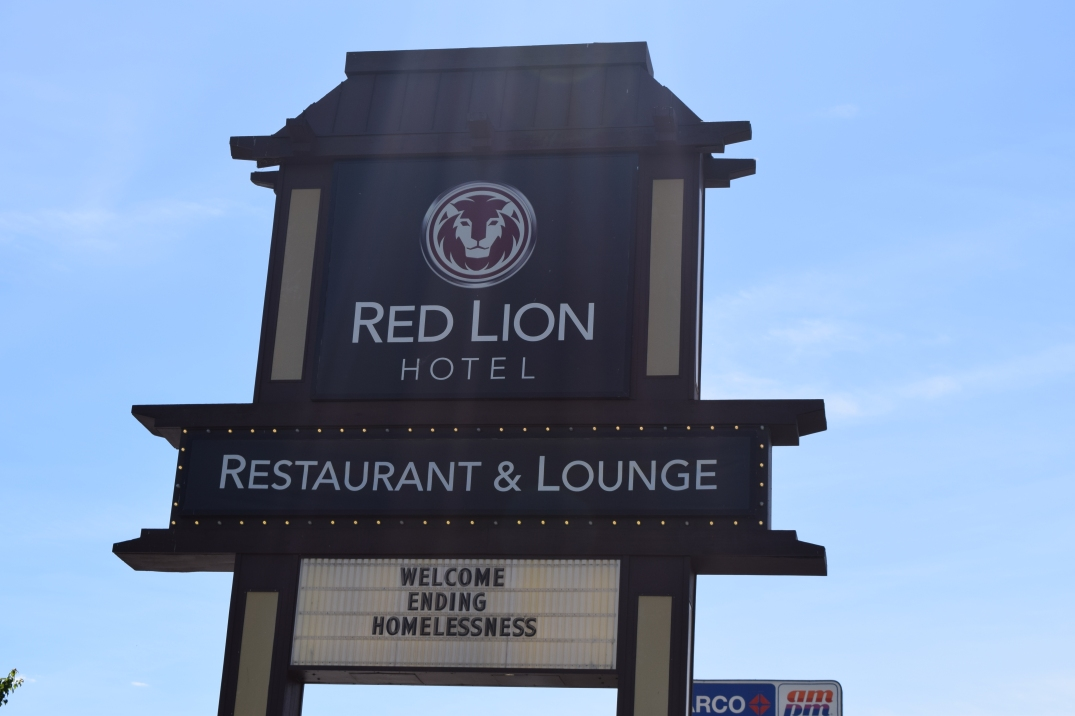 red lion hotel restaurant and lounge billboard welcome ending homelessness