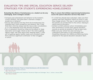 Special education evaluation homeless students, bridge