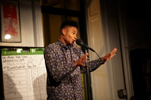 A StorySLAM participant sharing a story