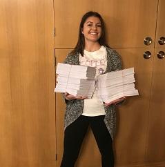 HHAD 2018 Tess holding postcards 2